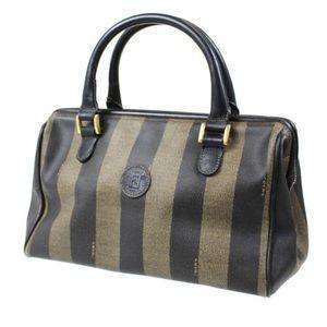 Fendi Pequin Stripe Coated Canvas Vintage Handbag